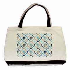 Plaid Line Chevron Wave Blue Grey Circle Basic Tote Bag