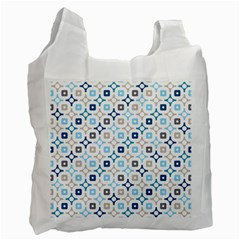 Plaid Line Chevron Wave Blue Grey Circle Recycle Bag (one Side) by Alisyart