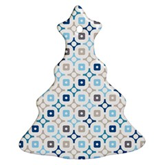 Plaid Line Chevron Wave Blue Grey Circle Christmas Tree Ornament (two Sides)