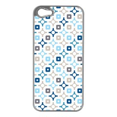 Plaid Line Chevron Wave Blue Grey Circle Apple Iphone 5 Case (silver) by Alisyart