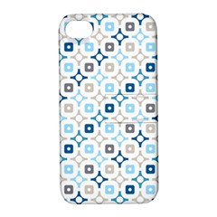 Plaid Line Chevron Wave Blue Grey Circle Apple Iphone 4/4s Hardshell Case With Stand