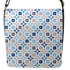 Plaid Line Chevron Wave Blue Grey Circle Flap Messenger Bag (s) by Alisyart