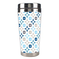 Plaid Line Chevron Wave Blue Grey Circle Stainless Steel Travel Tumblers by Alisyart