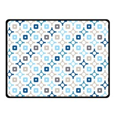 Plaid Line Chevron Wave Blue Grey Circle Double Sided Fleece Blanket (small)  by Alisyart