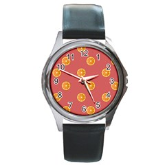 Oranges Lime Fruit Red Circle Round Metal Watch