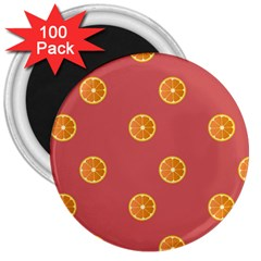 Oranges Lime Fruit Red Circle 3  Magnets (100 Pack) by Alisyart