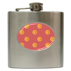 Oranges Lime Fruit Red Circle Hip Flask (6 Oz) by Alisyart
