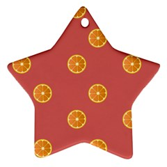Oranges Lime Fruit Red Circle Star Ornament (two Sides)