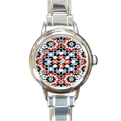 Oriental Star Plaid Triangle Red Black Blue White Round Italian Charm Watch by Alisyart