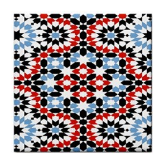 Oriental Star Plaid Triangle Red Black Blue White Tile Coasters by Alisyart