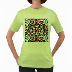 Oriental Star Plaid Triangle Red Black Blue White Women s Green T Shirt by Alisyart