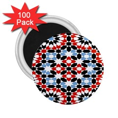 Oriental Star Plaid Triangle Red Black Blue White 2 25  Magnets (100 Pack)