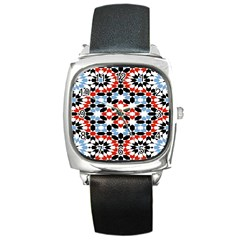 Oriental Star Plaid Triangle Red Black Blue White Square Metal Watch by Alisyart