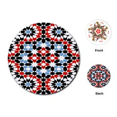 Oriental Star Plaid Triangle Red Black Blue White Playing Cards (round)  by Alisyart