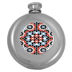 Oriental Star Plaid Triangle Red Black Blue White Round Hip Flask (5 Oz) by Alisyart