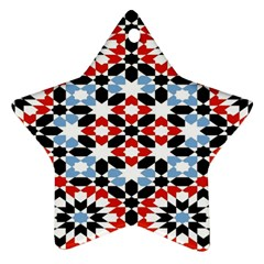 Oriental Star Plaid Triangle Red Black Blue White Star Ornament (two Sides)