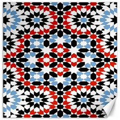 Oriental Star Plaid Triangle Red Black Blue White Canvas 16  X 16