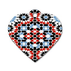 Oriental Star Plaid Triangle Red Black Blue White Dog Tag Heart (one Side) by Alisyart