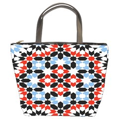 Oriental Star Plaid Triangle Red Black Blue White Bucket Bags by Alisyart