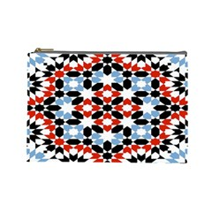 Oriental Star Plaid Triangle Red Black Blue White Cosmetic Bag (large)  by Alisyart