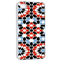 Oriental Star Plaid Triangle Red Black Blue White Apple Iphone 4/4s Seamless Case (white) by Alisyart