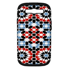 Oriental Star Plaid Triangle Red Black Blue White Samsung Galaxy S Iii Hardshell Case (pc+silicone)