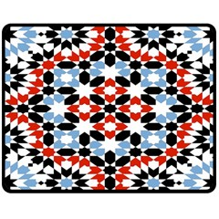 Oriental Star Plaid Triangle Red Black Blue White Double Sided Fleece Blanket (medium)  by Alisyart