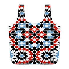 Oriental Star Plaid Triangle Red Black Blue White Full Print Recycle Bags (l)  by Alisyart