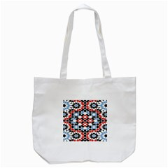 Oriental Star Plaid Triangle Red Black Blue White Tote Bag (white) by Alisyart