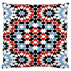 Oriental Star Plaid Triangle Red Black Blue White Large Flano Cushion Case (two Sides) by Alisyart