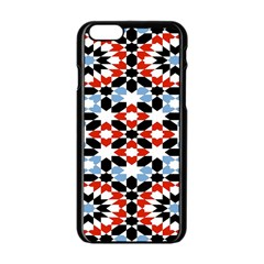 Oriental Star Plaid Triangle Red Black Blue White Apple Iphone 6/6s Black Enamel Case by Alisyart