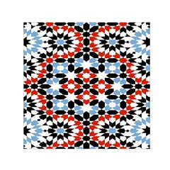 Oriental Star Plaid Triangle Red Black Blue White Small Satin Scarf (square)