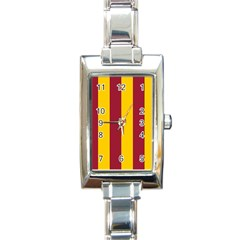 Red Yellow Flag Rectangle Italian Charm Watch by Alisyart