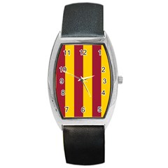 Red Yellow Flag Barrel Style Metal Watch