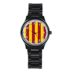 Red Yellow Flag Stainless Steel Round Watch by Alisyart
