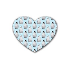 Penguin Animals Ice Snow Blue Cool Rubber Coaster (heart)  by Alisyart