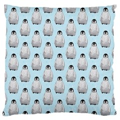 Penguin Animals Ice Snow Blue Cool Large Flano Cushion Case (two Sides) by Alisyart
