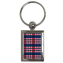 Plaid Red White Blue Key Chains (rectangle)  by Alisyart