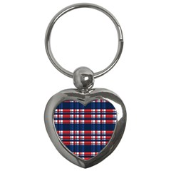 Plaid Red White Blue Key Chains (heart)  by Alisyart