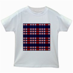 Plaid Red White Blue Kids White T Shirts by Alisyart