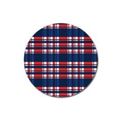 Plaid Red White Blue Magnet 3  (round)