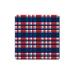 Plaid Red White Blue Square Magnet