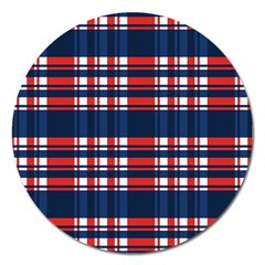 Plaid Red White Blue Magnet 5  (round) by Alisyart