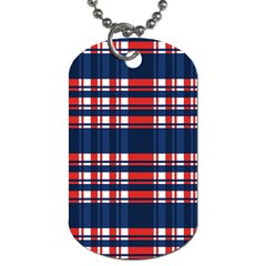 Plaid Red White Blue Dog Tag (one Side) by Alisyart