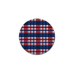 Plaid Red White Blue Golf Ball Marker