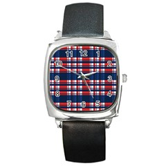 Plaid Red White Blue Square Metal Watch