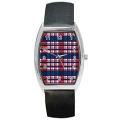 Plaid Red White Blue Barrel Style Metal Watch