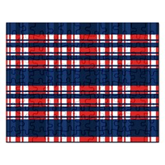 Plaid Red White Blue Rectangular Jigsaw Puzzl by Alisyart