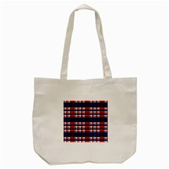 Plaid Red White Blue Tote Bag (cream) by Alisyart