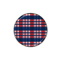 Plaid Red White Blue Hat Clip Ball Marker by Alisyart